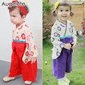 Весна Лето Ребенка Комбинезон Девочка Одежда Японский Кимоно Детская Одежда Для девочек Цельный комбинезон женский Детская Одежда