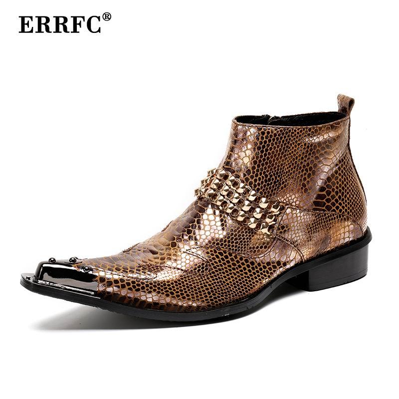 Errfc Personalisierte Männer Ankle Boot Mode Designer Metall Kappe Nieten Charme Python Schlange Muster Leder Schuh Für Zeigen Martin Boot ZuverläSsige Leistung