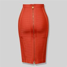 Brand Nerw Sexy Fashion Red Black Bandage Pencil Skirt New Arrival 2016 Elastic Bodycon Skirts 54cm(China)