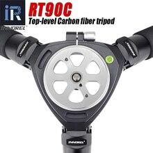 Rt90c alto nível profissional tripé de fibra de carbono birdwatching resistente 40kg suporte de câmera de carga 40mm tubo 75mm tigela adaptador