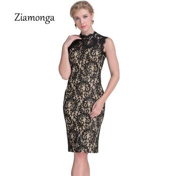 Ziamonga Autumn Lace Dress Women Vintage Elegant Crochet lace Midi Party Dresses Black Red Beige Sheath Bodycon Pencil Dress