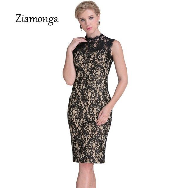 67638af9532d Ziamonga Automne Dentelle Robe Femmes Vintage Élégant Crochet dentelle Midi  Partie Robes Noir Rouge Beige Gaine