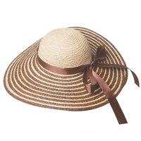 Toptan 6 adet/grup Bayanlar BÜYÜK Disket Plaj Güneş Hasır Şapka Yeni kadın Yaz Büyük Kenarlı Rafya Hasır Şapka Bayan Geniş Brim Caps