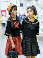 Short Sleeves Japanese School Uniform Girl Sailor Dress Red/ black Plaid Skirt Uniformes Japonais Korean Costumes For Girl