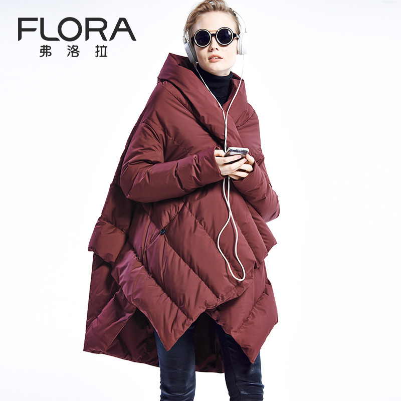 Free Shipping EMS Hot Sale 2015 Winter Warm High Quality Flora Cloak Paragraph Down Coat  Loose Thickening Down Coat  F Size hot sale butterfly and flower pattern feather pendant loose cloak coat poncho cape for women