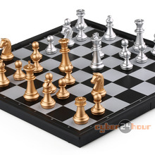 Magnetic Chess Set, Silver & Gold Pieces