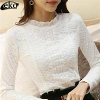 High Quality Autumn New Plus Size XXL Crochet Lace Shirts Women Vintage Long Sleeve Thicken Lace