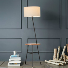 Modern American Nordic Original Wood Linen Lampshade Led E27 Floor Lamp With Teapoy For Living Room Bedroom Hall Deco 2298