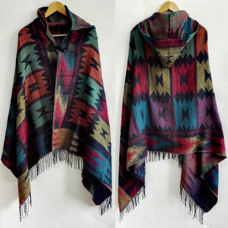 Retro Bohemian Geometric Shawl Scarf Poncho Tribal Fringed Coat Hoodies Jacket Striped Cardigans Blankets Cape Shawl With Tassel