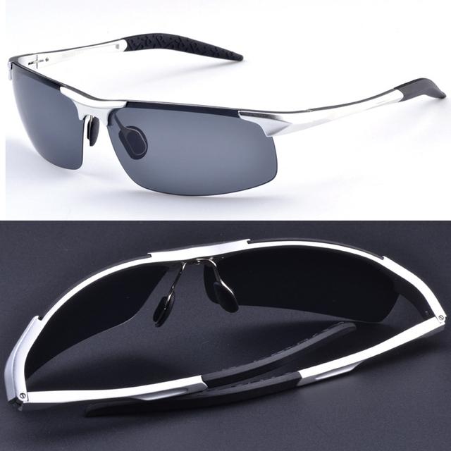 = = Plata de aluminio de aleación de magnesio titanium campo de batalla estilo polarizado uv400 uv100 % gafas de sol para hombre