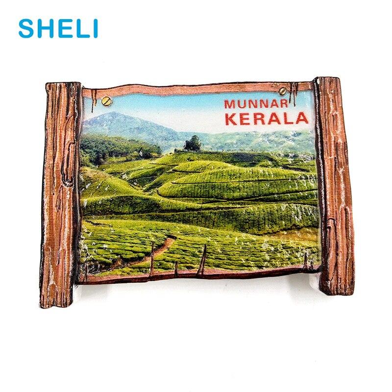 India Travel Souvenir Scenery kerala 3D High-end Resin Fridge Magnets Gift Refrigerator Magnetic Sticker Home Decor Decoration