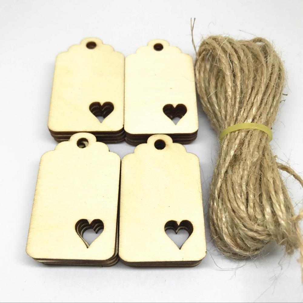 50pcs Blank Wood Luggage Tags Pendants Embellishments With Hearts for DIY Crafts Cardmaking Scrapbooking Natural Color 4x2.5cm