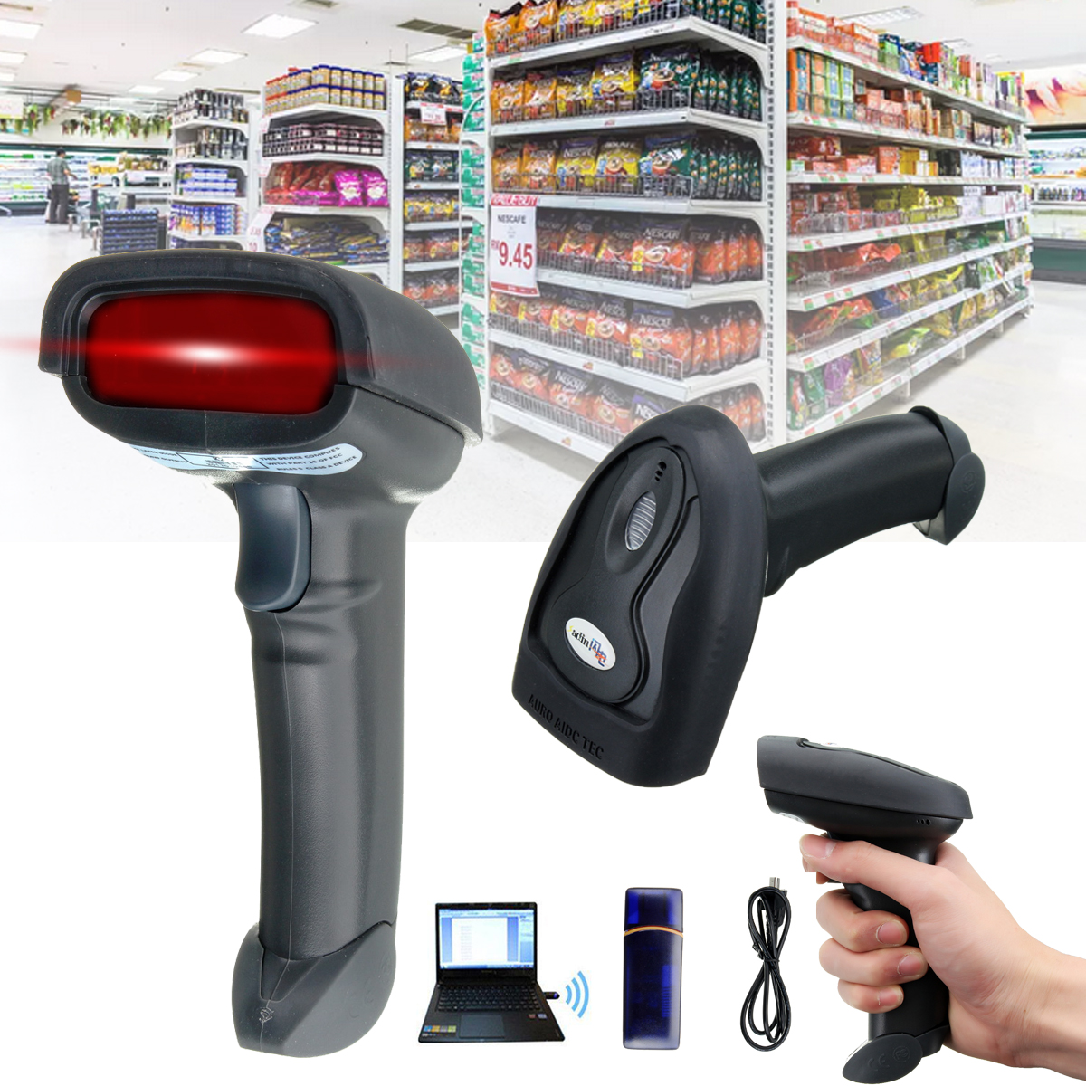 Wireless Scanner Wifi Laser Handheld Scanner Barcode 2.4G USB POS Scan Bar Code Scanner Reader Scan Gun for Supermarkets new handheld bluetooth wireless usb automatic barcode scanner reader with usb receiver for pos pc laptop em88