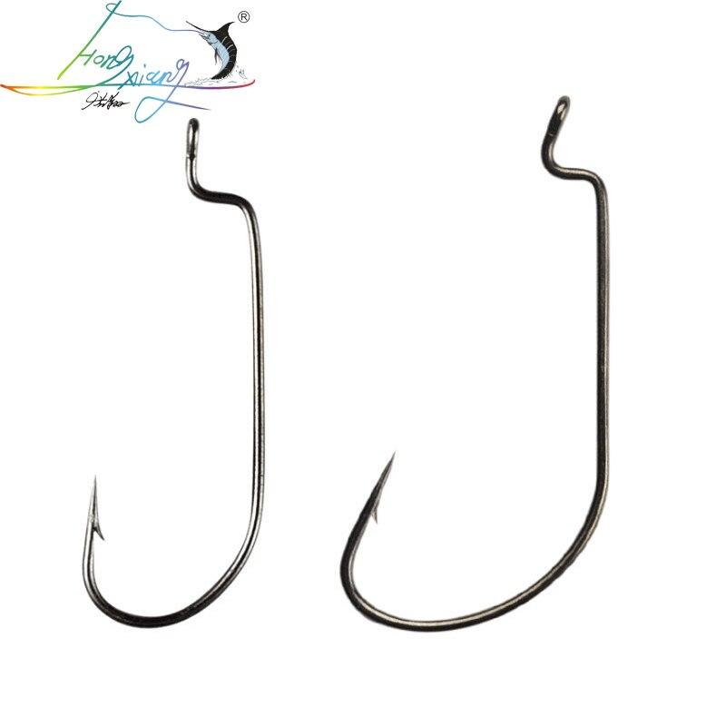 Lots 5 Sizes 20pcs Wide Gap Worm Hook Jig Fishing Crank Hooks for Soft Bait Lure
