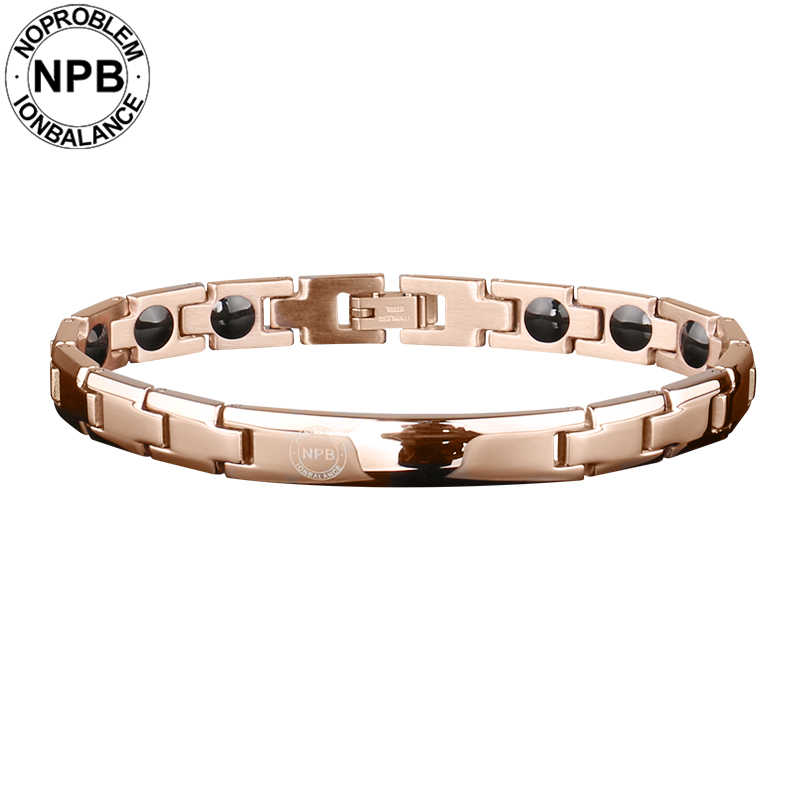 Noproblem 043 rose plated metal beads choker energy lady magnetic antifatigue tourmaline germanium bracelets