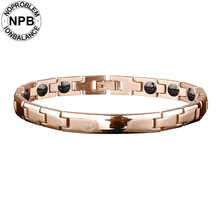 Noproblem 043 Rose Plated Metal Beads Choker Energy Lady Magnetic Antifatigue Tourmaline Germanium Bracelets