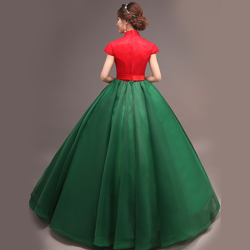 Brand New 2017 Red Green V Neck Stage Performance Ball Gowns Retro Evening  Long Prom Dresses Drop Shipping vestido de noiva-in Prom Dresses from  Weddings ... c6b4e972ac4d