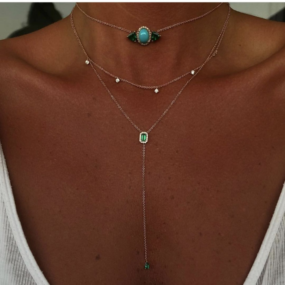 Elegant Jewelry AAA Cubic Zirconia Brilliant Sweater Chain Green White CZ Fashion Long Necklaces Women Costume Jewelry