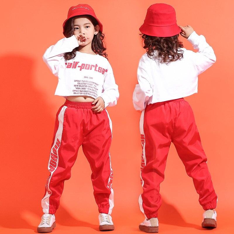 Children Casual Pants Cropped Sweatshirt Shirt Hip Hop Clothing Clothes Jazz Dance Costume For Girls Ballroom Dancing Streetwear