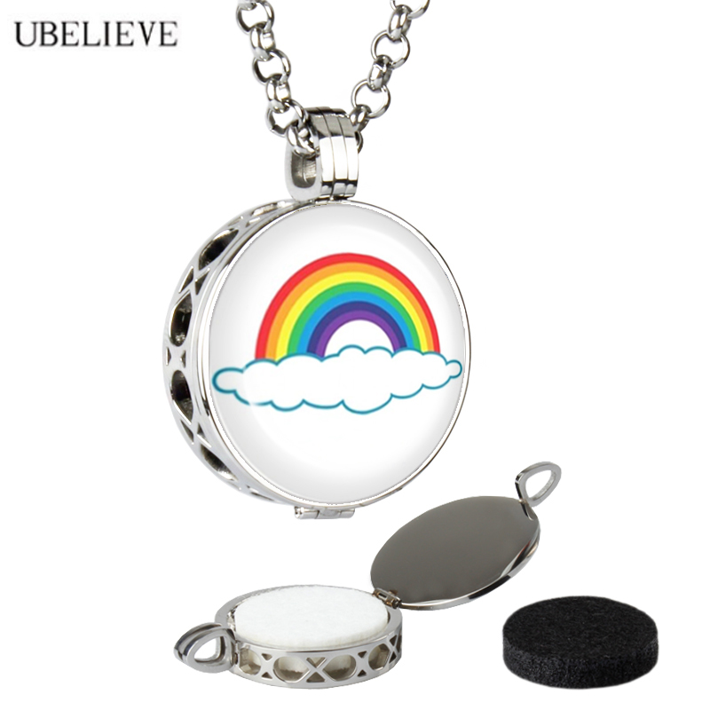 Fashion Jewelry Rainbow Picture Perfume Locket Lover Necklace Stainless Steel Photo Aromatherapy Diffusing Locket Pendant Gift