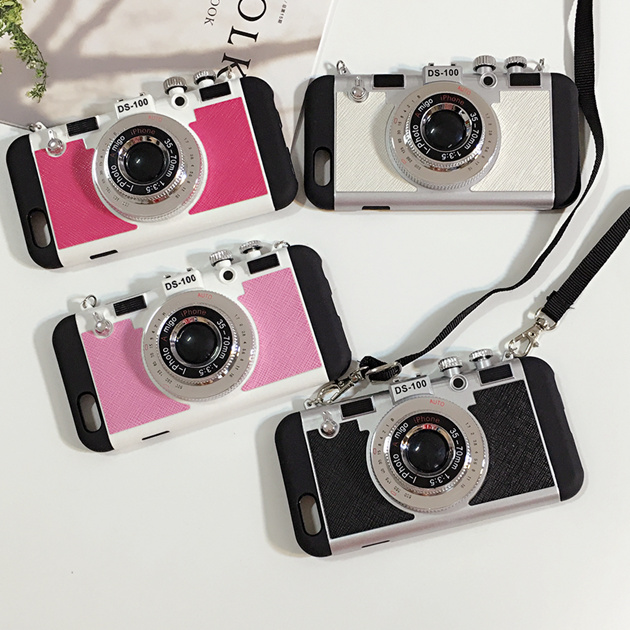 New Retro Fashion Camera Style Phone Case Cover With Long Strap Rope For iphone5 5s SE 6 6s 7plus case