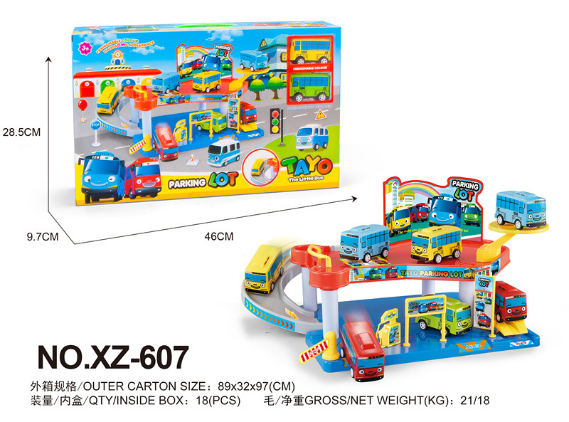 Tayo the little bus set XZ 607 Assembled car Gas station model with 2 mini tayo