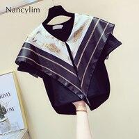 Korean Style Scarf Stitching T shirt for Women Summer Navy Lapel Shirt Female Lady Temperament Tshirt Tops Nancylim T Shirts