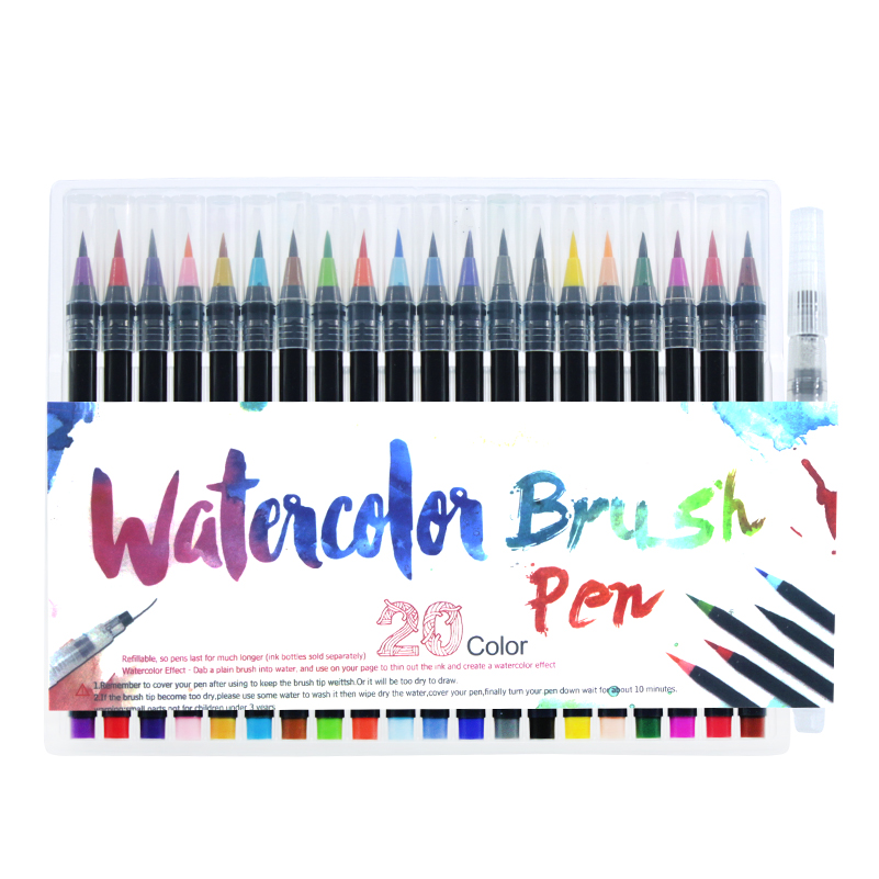 20 Color Painting Soft Brush Pen Watercolor Markers Pen For Coloring Books Calligraphy 20 color premium painting soft brush pen set watercolor art copic markers pen effect best coloring books manga comic calligraphy