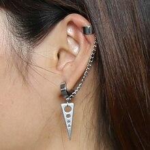 Трёхсторонние серьги-гвоздики, длинная цепочка, манжета для ушей из нержавеющей стали, ювелирные изделия для женщин и мужчин, 1 пара, пирсинг для ушей