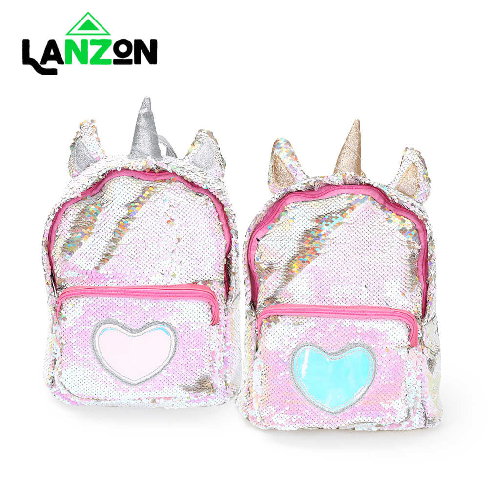 Girls Fashion Sequins Unicorn Backpack Women PU Leather Large Capacity Bag Girl Book Bag Satchel School Bag For Teenager Student