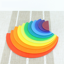 11Pcs Semicircle Rainbow Blocks Wooden Toys For Kids Matching With 12Pcs Large Building Storage Cabinets Gift