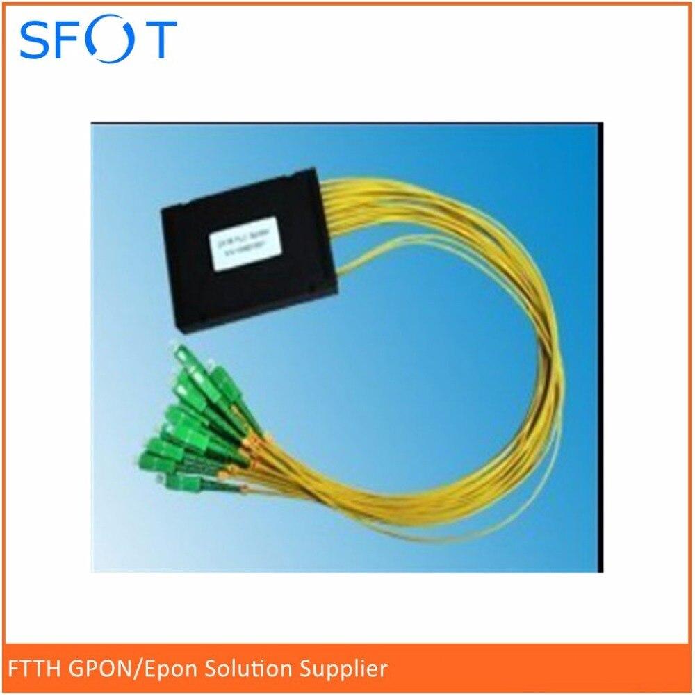 FTTH accessoires En Ligne SC/APC 1x32 PLC Splitter, ABS emballage, avec SC/APC connecteurs, SM, 2.0mm, 1 M longueur