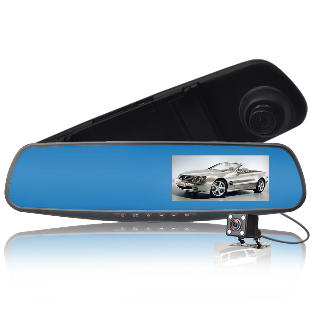4.3 Inch Full HD 1080P Mirror Car DVR Dual Len Dash Cam Night Vision Driving Recorder with Rear Camera Registrator