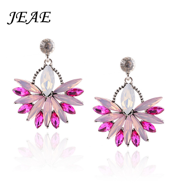 Jeae High Quality Pink Crystal Drop Earrings For Women 2017 Hot Elegant Lady Fashion Wedding