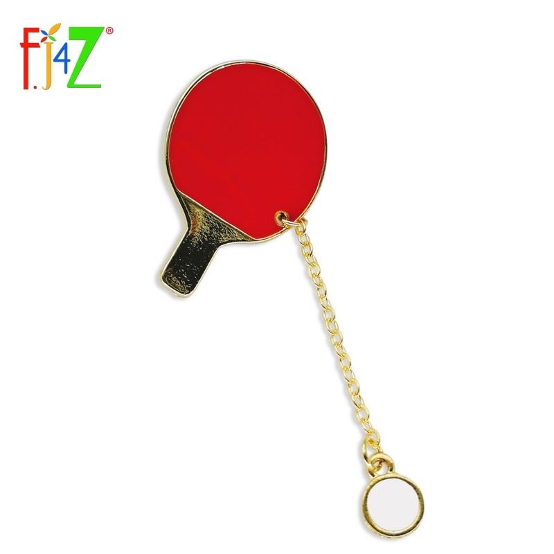 F.J4Z New Arrival Gift Jewelry Fashion Designer Lovely Mini Enamel Badminton/ Table Tennis Racket Brooch Pin For Women