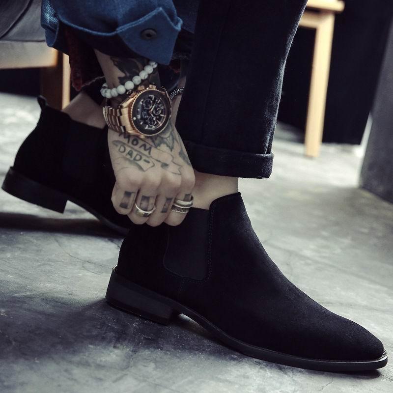 ERRFC Britischen Mode Männer Chelsea Stiefel Sewing Slip Auf Nubuk Trend Mann Stiefeletten Schwarz Luxus High Top Casual Schuhe 38 44-in Chelsea Boots aus Schuhe bei  Gruppe 2