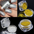 2 bottle/lot Loose Laser Nail Glitter Holographic Silver Gold Mica Nail Art Powder Dust Solvent Resistant Nail Decoration Set