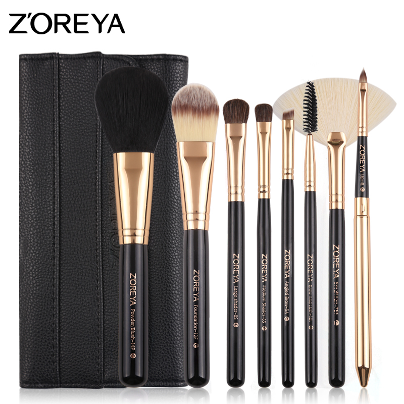 ZOREYA Makeup Brushes 8 pcs Make Up Brush Set Pony Hair With Leather Bag As Essential Makeup Tools For Daily Beauty автомагнитола prology cmx 130 usb sd mmc