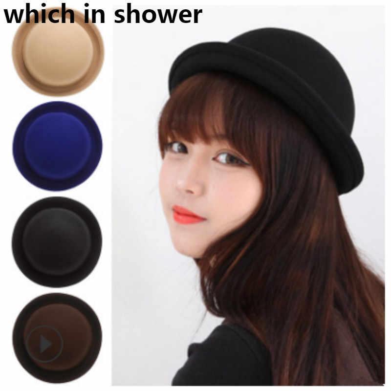 45ff08eb34d2e Wool Women Top Hat Vintage Spring Autumn Boater Hat Woolen Girl Bowler Hat  Female Blank Round