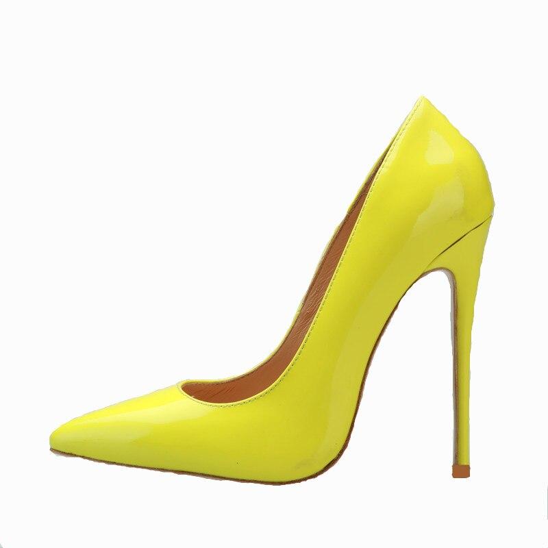 Vendita calda punta a punta tacco alto pompe classico della pelle verniciata tacchi sottili scarpe da donna sexy giallo rosa verde nudo nero pattini del partitoVendita calda punta a punta tacco alto pompe classico della pelle verniciata tacchi sottili scarpe da donna sexy giallo rosa verde nudo nero pattini del partito
