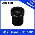 """5 Megapixel Fixa M12 1/2 """"polegadas Câmera de CCTV Lente de 16mm Para 1080 P/5MP câmera IP e AHD/CVI/TVI Camera Frete Grátis"""