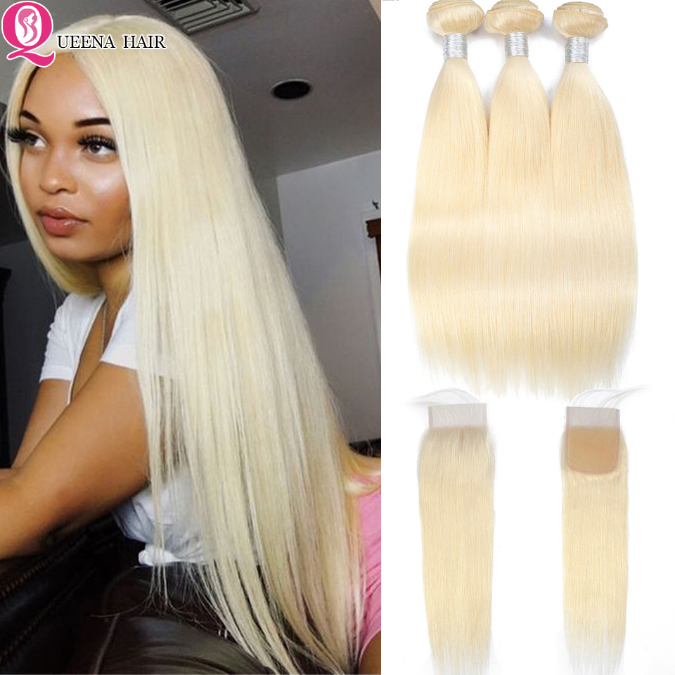 Straight Hair 613 Bundles With Lace Closure Colored Blonde Human Hair Weave Malaysian Remy Hair Bundles With Closure Baby Hair