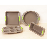 4 Piece Bakeware Set Baking Molds Nonstick Silicone Bakeware Set with Round Square and Rectangular Pans for Pies Cakes Loaf