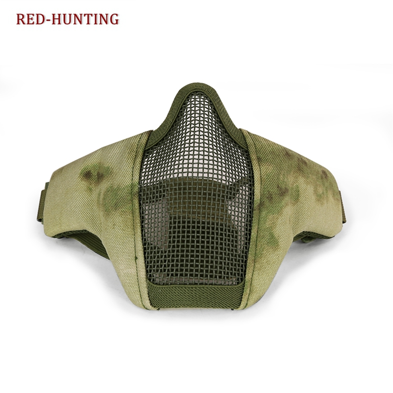 New FG AU Tactical Half Face Mask Airsoft Field Wargame Metal Steel Net Mesh Military Hunting Tactical Airsoft Half Face Mask