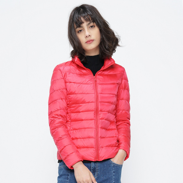 2017 Casual Women Feather Clothes Stand Collar Regular Portable Ultra Light Down Jacket With Carry Bag Women's Overcoat Plus