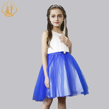 Fashion Girls Dress Pink Rose Bow Sashes Wedding Birthday Party Kids Clothes Princess Dress Vestidos vestido