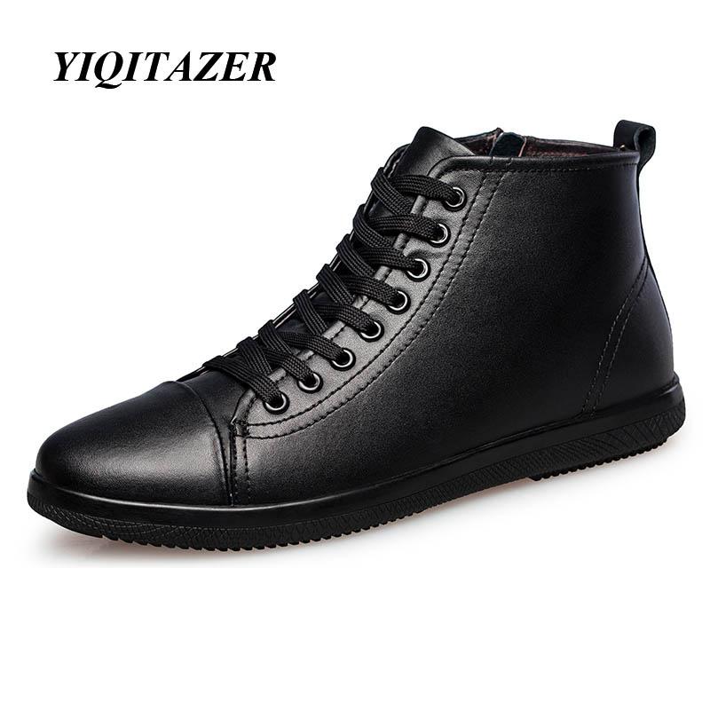 YIQITAZER 2017 Muške čizme gležnjače visoke kvalitete Prava koža Muške radne i zaštitne cipele Zimske cipele Gumene čizme Man Plus 46 47