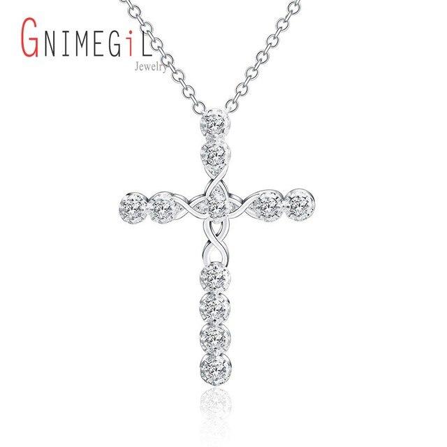 7de39dba6b499 GNIMEGIL argent plaqué collier bijoux femmes de mariage mode croix CZ  cristal Zircon pierre pendentif collier