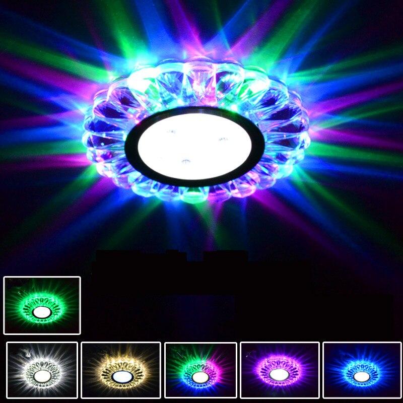 Colorful LED Downlight Panel Light RGB COB Recessed Halogen Lamp Spot Lights Holiday Bulb For Bar KTV Aisle Decoration Light