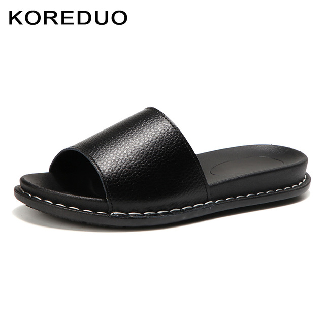 KOREDUO 2018 New Summer Shoes Square Heels Mules Slippers